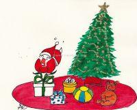 Santa envolviendo regalos